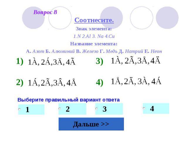 Соотнесите.Знак элемента:1.N 2.Al 3. Na 4.CuНазвание элемента:А. Азот Б. Алюминий В. Железо Г. Медь Д. Натрий Е. Неон Выберите правильный вариант ответа
