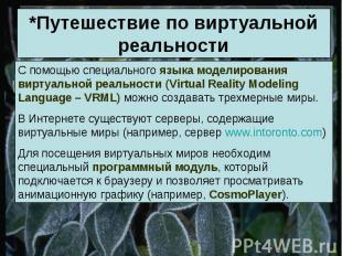 *Путешествие по виртуальной реальности С помощью специального языка моделировани