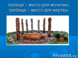 Капище – место для молитвы, требище – место для жертвы.