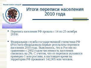 Итоги переписи населения2010 года Перепись населения РФ прошла с 14 по 25 октябр