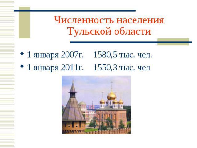 Численность населения Тульской области 1 января 2007г. 1580,5 тыс. чел.1 января 2011г. 1550,3 тыс. чел