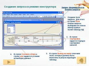 Создание запроса в режиме конструктора Запрос формируется в бланке запроса Созда