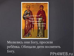Молились они Богу, просили ребёнка. Обещали дитя посвятить Богу.