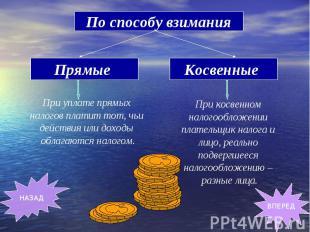 По способу взимания Прямые При уплате прямых налогов платит тот, чьи действия ил