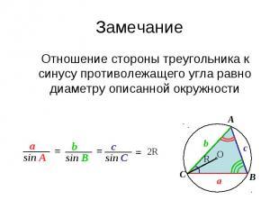ЗамечаниеОтношение стороны треугольника к синусу противолежащего угла равно диам