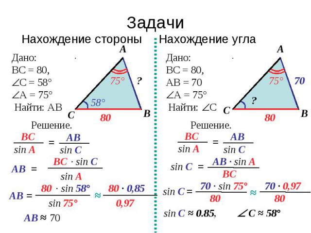 ЗадачиНахождение стороны Нахождение стороны Нахождение угла Дано:ВС = 80, С = 58°А = 75° Найти: АВ Дано:ВС = 80, АВ = 70А = 75° Найти: С