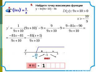 Найдите точку максимума функции y = ln(9x+10) – 9х