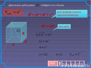 Диагональ куба равна . Найдите его объем. d2 = a2 + b2 + c2 Для прямоугольного п