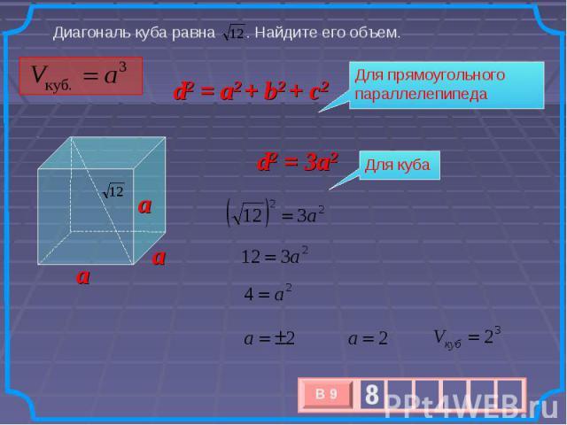 Диагональ куба равна . Найдите его объем. d2 = a2 + b2 + c2 Для прямоугольного параллелепипеда Для куба