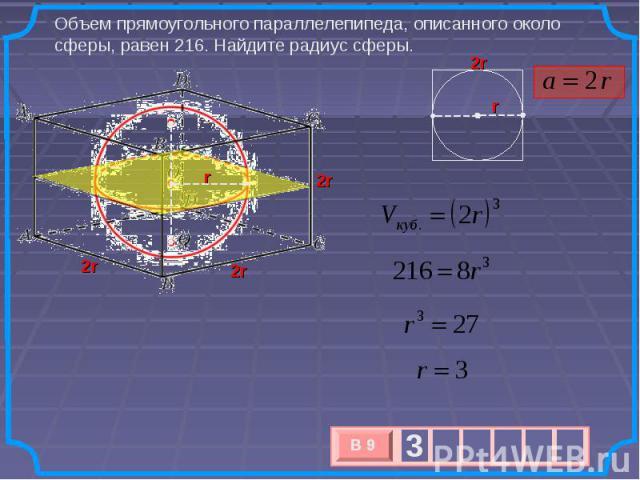 Объем прямоугольного параллелепипеда, описанного около сферы, равен 216. Найдите радиус сферы.
