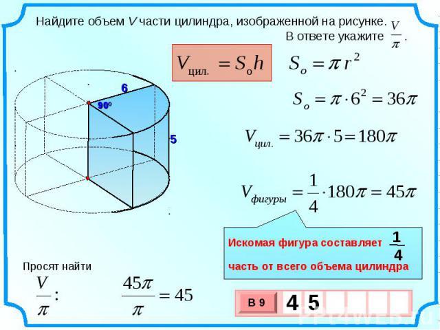 Найдите объем V части цилиндра, изображенной на рисунке. В ответе укажите . Искомая фигура составляет часть от всего объема цилиндра