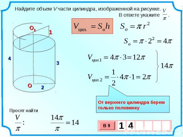 Найдите объем V части цилиндра, изображенной на рисунке. В ответе укажите . От верхнего цилиндра берем только половинку