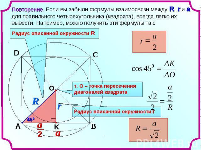 Повторение. Если вы забыли формулы взаимосвязи между R, r и a для правильного четырехугольника (квадрата), всегда легко их вывести. Например, можно получить эти формулы так:Радиус описанной окружности R т. О – точка пересечения диагоналей квадрата Р…