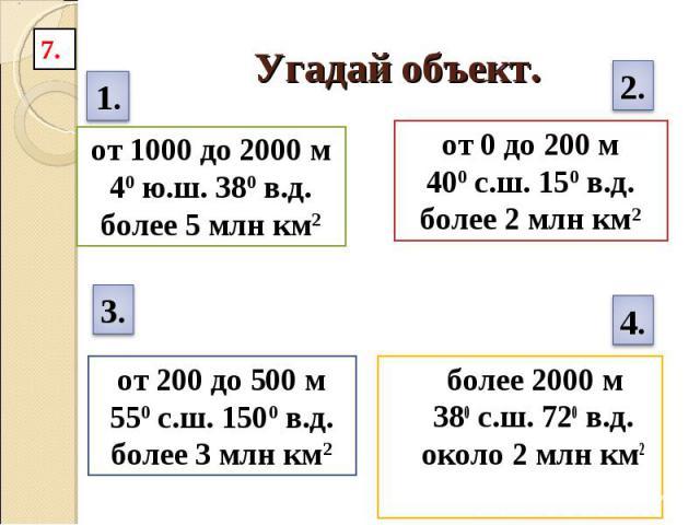 Угадай объект. от 1000 до 2000 м40 ю.ш. 380 в.д.более 5 млн км2 от 0 до 200 м400 с.ш. 150 в.д.более 2 млн км2 от 200 до 500 м550 с.ш. 1500 в.д.более 3 млн км2 более 2000 м380 с.ш. 720 в.д.около 2 млн км2