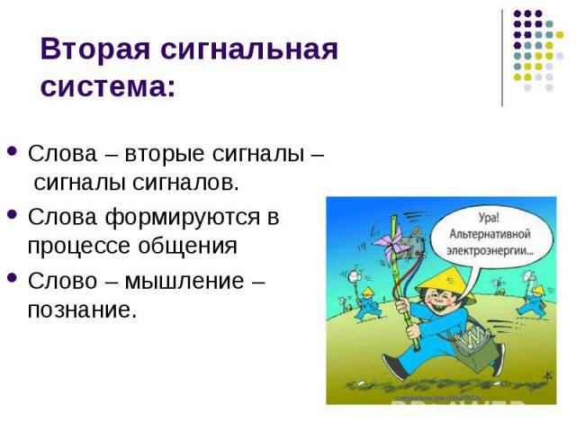 Вторая сигнальная система:Слова – вторые сигналы – сигналы сигналов. Слова формируются в процессе общенияСлово – мышление – познание.