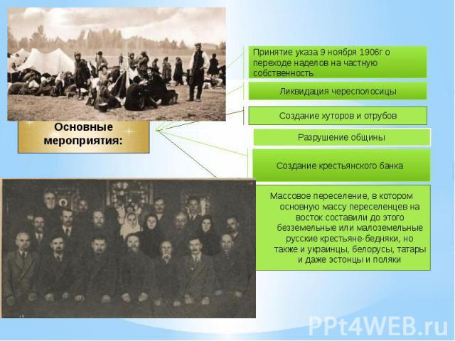 Основные мероприятия: Принятие указа 9 ноября 1906г опереходе наделов на частнуюсобственность Массовое переселение, в котором основную массу переселенцев на восток составили до этого безземельные или малоземельные русские крестьяне-бедняки, но также…