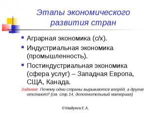 Этапы экономического развития стран Аграрная экономика (с/х).Индустриальная экон