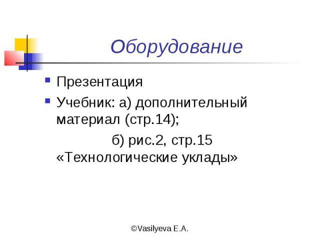 ОборудованиеПрезентацияУчебник: а) дополнительный материал (стр.14); б) рис.2, стр.15 «Технологические уклады»