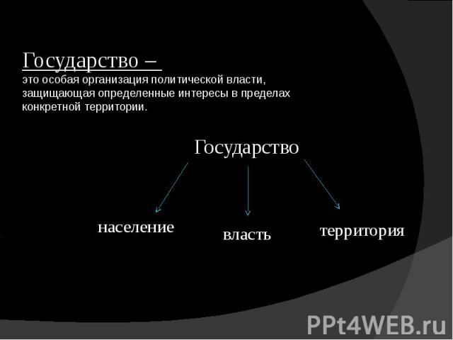 Государство – это особая организация политической власти, защищающая определенные интересы в пределах конкретной территории.