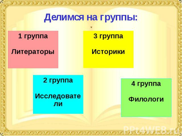 Делимся на группы: 1 группаЛитераторы 3 группаИсторики 2 группаИсследователи 4 группаФилологи