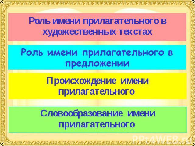 Роль имени прилагательного в художественных текстах Роль имени прилагательного в предложении Происхождение имени прилагательного Словообразование имени прилагательного