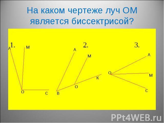 1. 2. 3. На каком чертеже луч ОМ является биссектрисой?