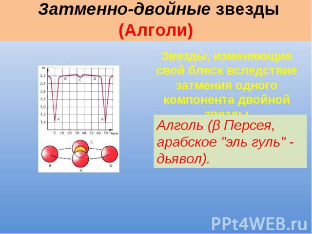 Затменно-двойные звезды (Алголи) Звезды, изменяющие свой блеск вследствие затмения одного компонента двойной звезды Алголь (β Персея, арабское