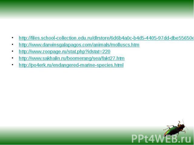 http://files.school-collection.edu.ru/dlrstore/6d6b4a0c-b4d5-4405-97dd-dbe55650e459/gastropoda.htmhttp://www.darwinsgalapagos.com/animals/molluscs.htmhttp://www.zoopage.ru/stat.php?idstat=220http://www.sakhalin.ru/boomerang/sea/fakt27.htmhttp://po4e…