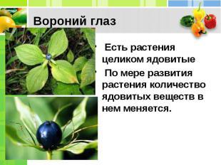 Вороний глаз Есть растения целиком ядовитые По мере развития растения коли