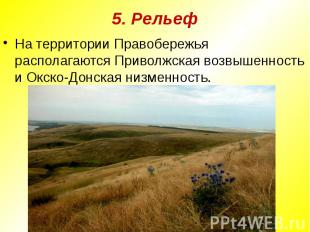 5. РельефНа территории Правобережья располагаются Приволжская возвышенность и Ок