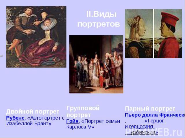II.Виды портретов