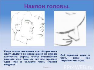 Наклон головы. Когда голова наклонена или обозревается снизу, делайте основной а