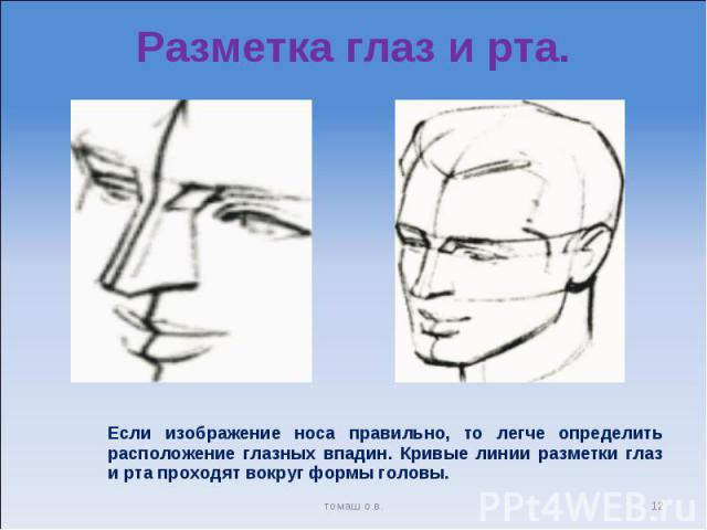 Разметка глаз и рта. Если изображение носа правильно, то легче определить расположение глазных впадин. Кривые линии разметки глаз и рта проходят вокруг формы головы.