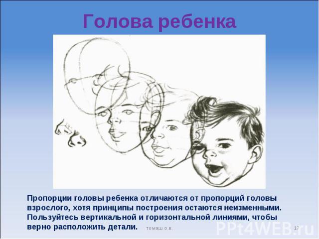 Голова ребенка Пропорции головы ребенка отличаются от пропорций головы взрослого, хотя принципы построения остаются неизменными. Пользуйтесь вертикальной и горизонтальной линиями, чтобы верно расположить детали.