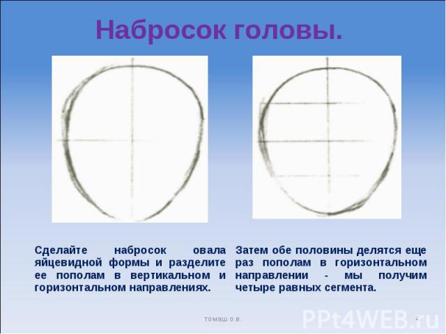 Набросок головы. Затем обе половины делятся еще раз пополам в горизонтальном направлении - мы получим четыре равных сегмента. Сделайте набросок овала яйцевидной формы и разделите ее пополам в вертикальном и горизонтальном направлениях.