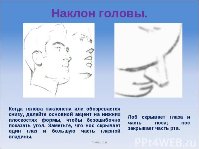 Наклон головы. Когда голова наклонена или обозревается снизу, делайте основной акцент на нижних плоскостях формы, чтобы безошибочно показать угол. Заметьте, что нос скрывает один глаз и большую часть глазной впадины. Лоб скрывает глаза и часть носа;…