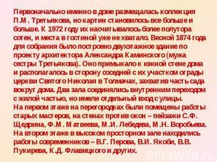 Первоначально именно в доме размещалась коллекция П.М. Третьякова, но картин ста