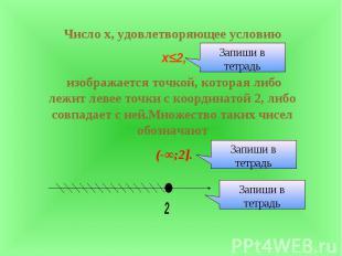 Число х, удовлетворяющее условию х≤2, изображается точкой, которая либо лежит ле