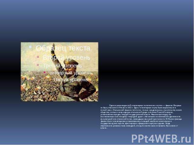 Одна из разновидностей тоталитарных политических систем — фашизм. Впервые он был установлен в Италии в 1922 г. Здесь тоталитарные черты были выражены не в полной мере. Итальянский фашизм тяготел не столько к радикальному строительству нового обществ…