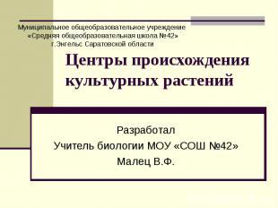 Центры происхождения культурных растений РазработалУчитель биологии МОУ «СОШ №42