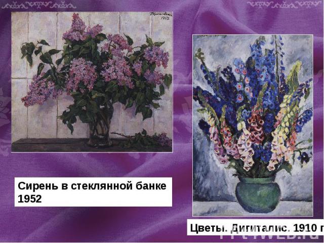 Сирень в стеклянной банке 1952 Цветы. Дигиталис. 1910 г.