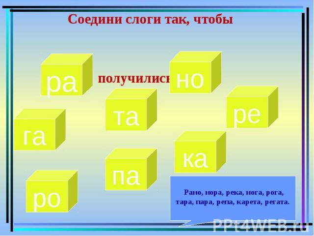 Соедини слоги так, чтобы получились слова Рано, нора, река, нога, рога, тара, пара, репа, карета, регата.