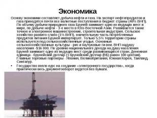 Основу экономики составляет добыча нефти и газа. На экспорт нефтепродуктов и газ