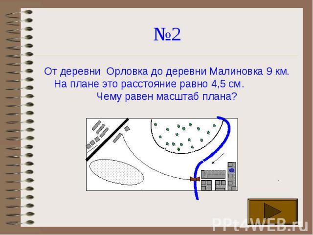 №2 От деревни Орловка до деревни Малиновка 9 км. На плане это расстояние равно 4,5 см. Чему равен масштаб плана?