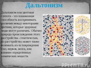 Дальтонизм Дальтонизм или цветовая слепота - это пониженная способность восприни