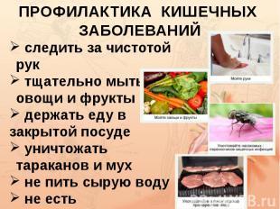 ПРОФИЛАКТИКА КИШЕЧНЫХ ЗАБОЛЕВАНИЙ следить за чистотой рук тщательно мыть овощи и