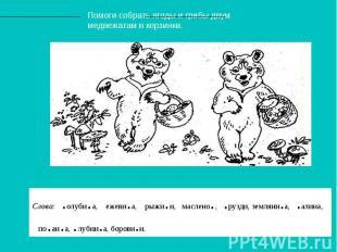 Помоги собрать ягоды и грибы двум медвежатам в корзинки. Слова: .олуби.а, ежеви.