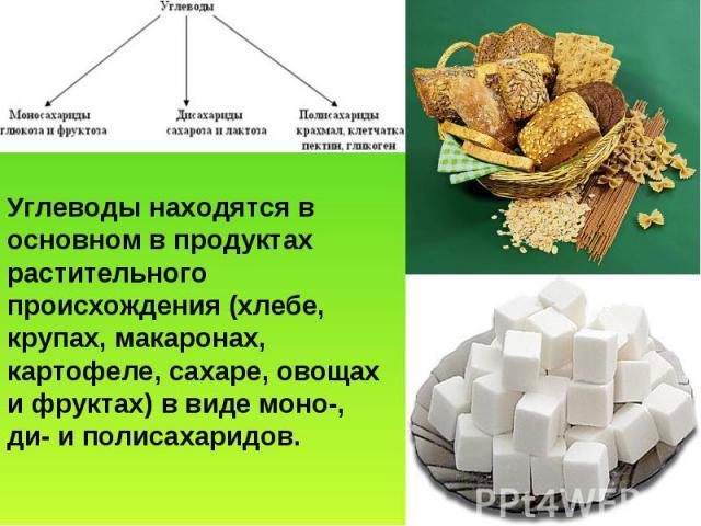 Углеводы находятся в основном в продуктах растительного происхождения (хлебе, крупах, макаронах, картофеле, сахаре, овощах и фруктах) в виде моно-, ди- и полисахаридов.