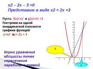 x2 – 2x – 3 =0 Представим в виде x2 = 2x +3 Пусть f(x)=x2 и g(x)=2x +3Построим н