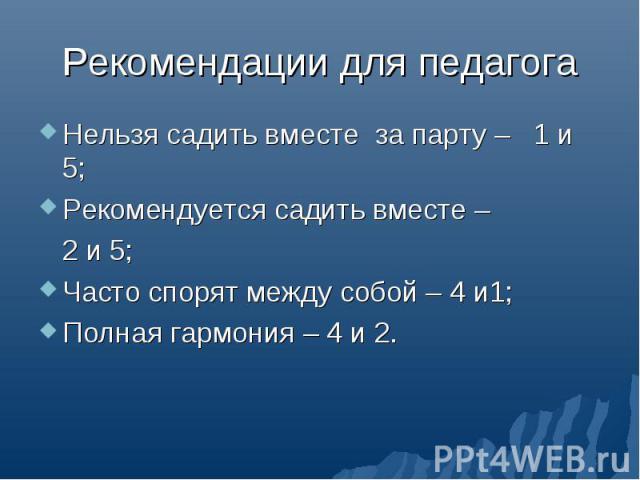 Рекомендации для педагога Нельзя садить вместе за парту – 1 и 5;Рекомендуется садить вместе – 2 и 5;Часто спорят между собой – 4 и1;Полная гармония – 4 и 2.